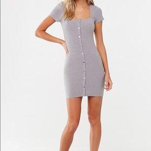 Heather grey ribbed dress